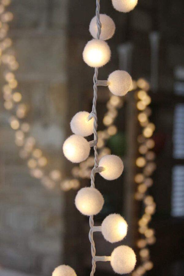 White Pom pom LED Fairy Light Chain with a Soft Warm White Glow