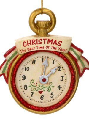 Gisela Graham Antique Gold Pocket Watch Resin Christmas Tree Decoration