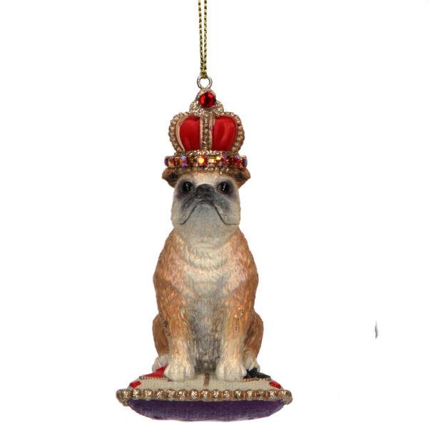 Gisela Graham Bulldog Sitting on a Cushion Christmas Tree Decoration