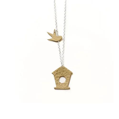 Hammered Brass Bird Box Pendant