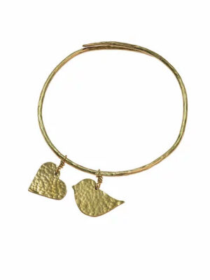 Hammered Brass Lovebird Bangle