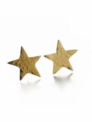 Hammered Brass Star Studs