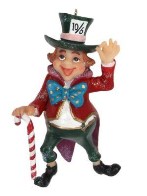 Gisela Graham Christmas Alice In Wonderland Resin Mad Hatter Hanging Tree Decoration